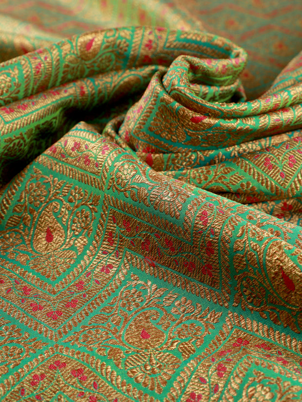 Signoraa Sea Green Banarasi Silk Unstitched Fabric-PMT011615- View 2