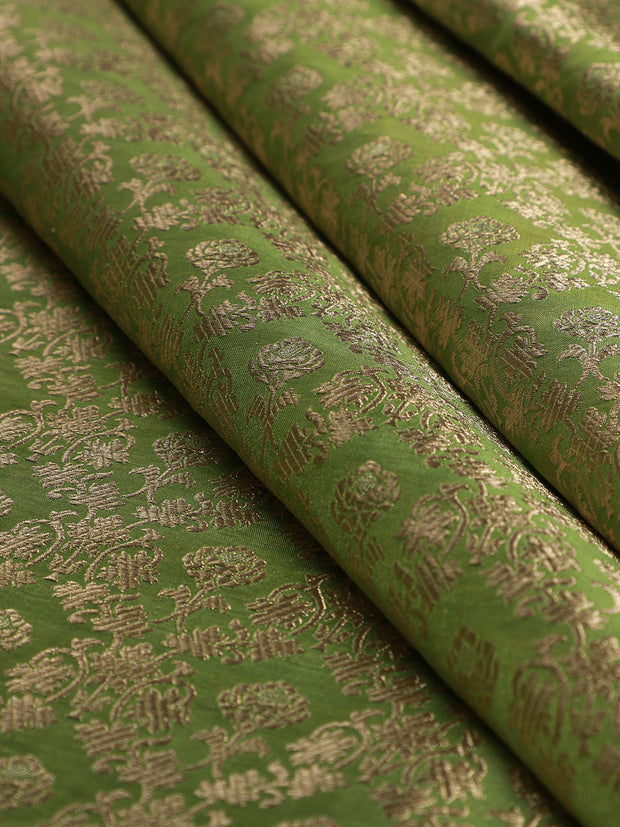 Signoraa Green Banarasi Silk Unstitched Fabric-PMT011604 - View 1