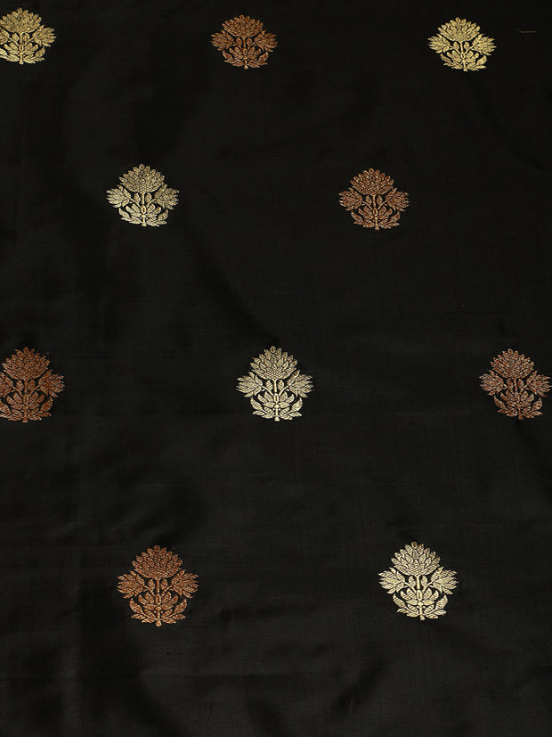 Signoraa Black Katan Silk Unstitched Fabric-PMT011478 - View 3