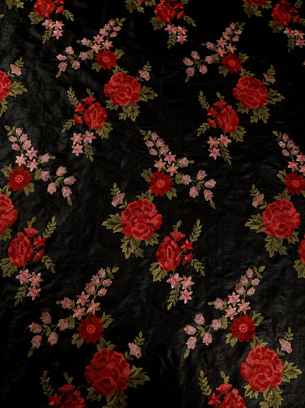 Signoraa Black Tussar Silk Unstitched Fabric-PMT10854- View 2