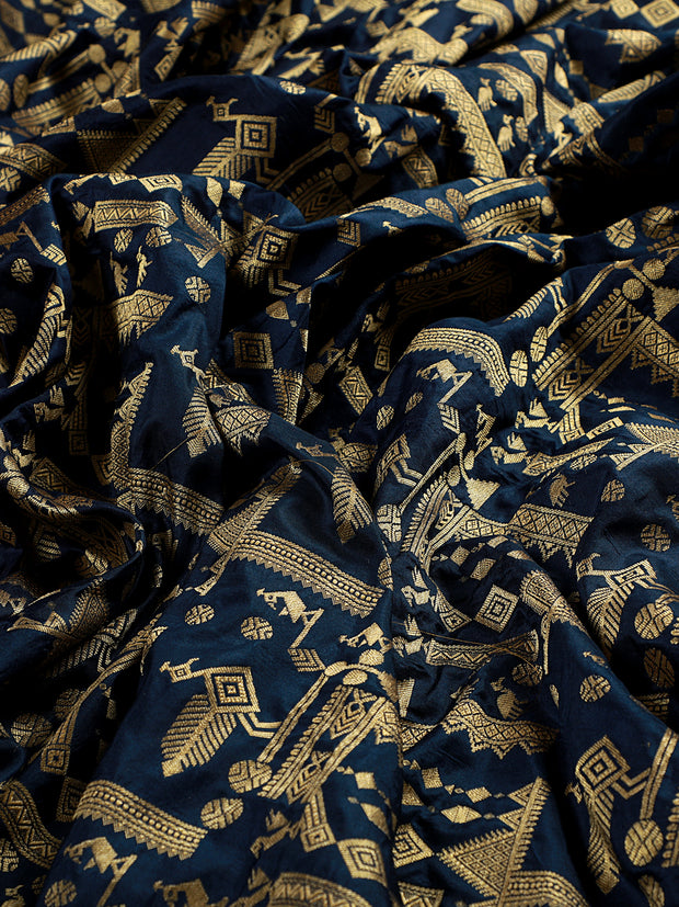 Signoraa Navy Blue Banarasi Silk Unstitched Fabric-PMT011173- View 2