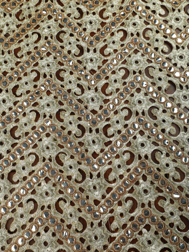 Signoraa Grey and Gold Cutwork Unstitched Fabric-PMT03934- View 2