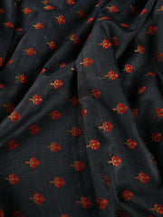 Signoraa Navy Blue Tussar Silk Unstitched Fabric-PMT010808- View 2