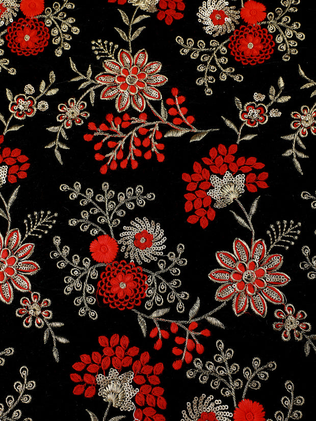 Signoraa Black Velvet Unstitched Fabric-PMT010382- View 3