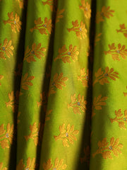 Signoraa Parrot Green Banarasi Tanchoi Silk Unstitched Fabric-PMT010906 A- View 1