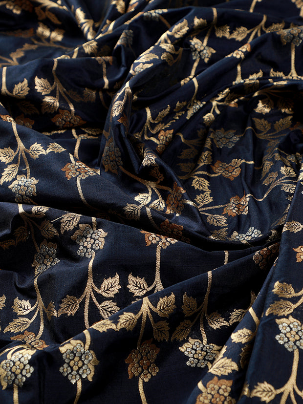 Signoraa Navy Blue Banarasi Silk Unstitched Fabric-PMT010908C- View 2