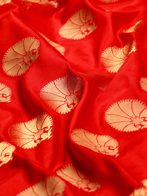 Signoraa Red Banarasi Pure Silk Unstitched Fabric-PMT10948-View 2
