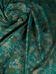 Signoraa Teal Blue Banarasi Silk Unstitched Fabric-PMT010110- View 1