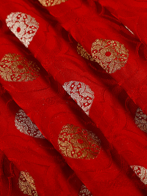 Signoraa Red Banarasi Pure Silk Unstitched Fabric-PMT011618 - View 1