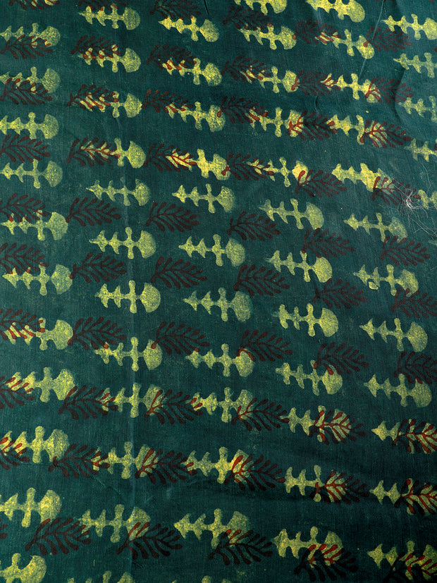 Signoraa Dark Green Silk Linen Unstitched Fabric-PMT01477A - View 3