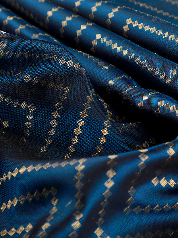 Signoraa Navy Blue Banarasi Pure Silk Unstitched Fabric-PMT011691A- View 2