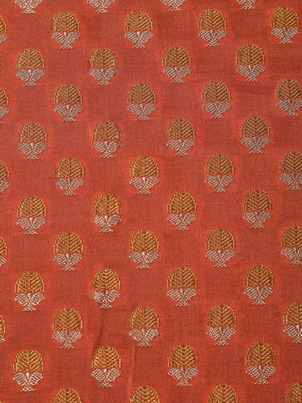 Signoraa Peach Banarasi Pure Silk Unstitched Fabric-PMT011625- View 3