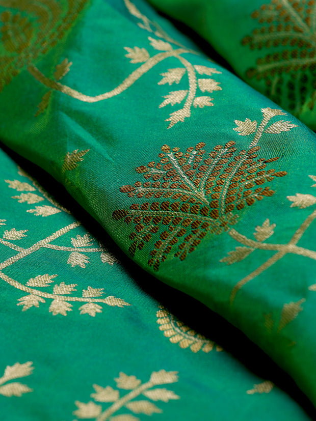 Signoraa Sea Green Banarasi Silk Unstitched Fabric-PMT010908 B-View 1