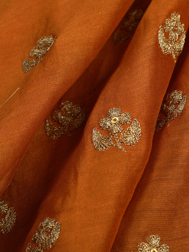 Signoraa Mustard Chanderi Unstitched Fabric-PMT011263- View 1