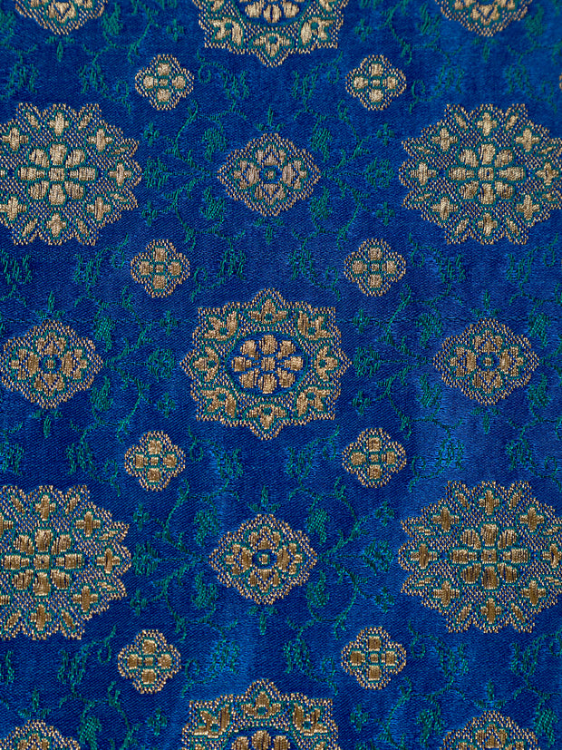 Signoraa Royal Blue Banarasi Silk Unstitched Fabric-PMT011482- View 3