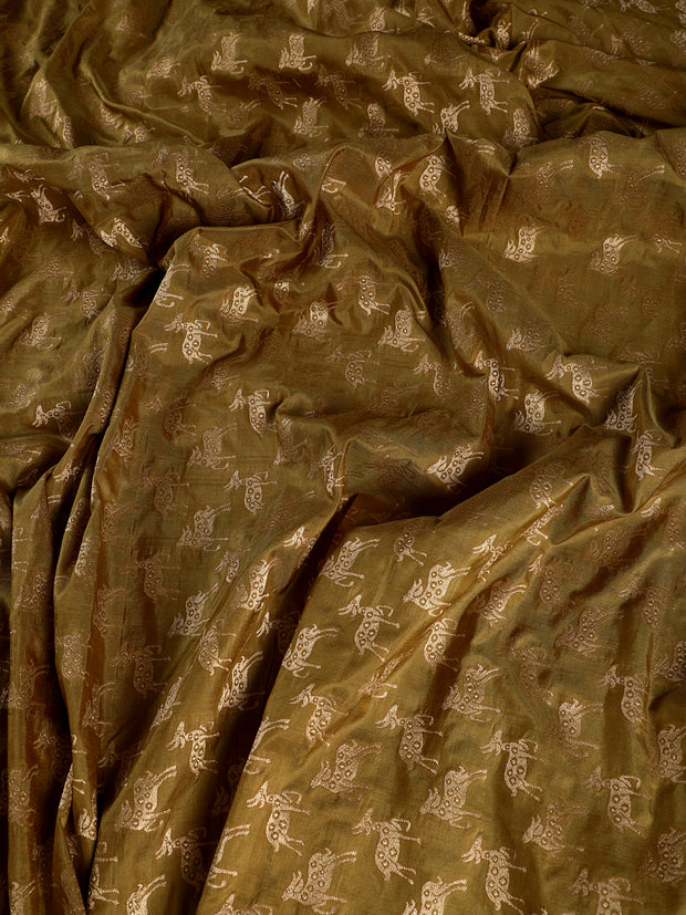 Signoraa Olive Green Banarasi Pure Silk Unstitched Fabric-PMT010073- View 1