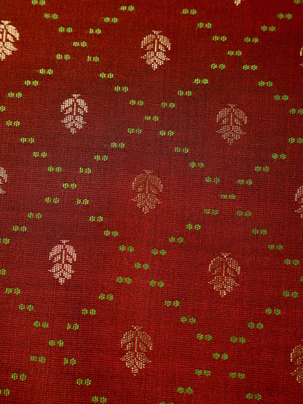 Signoraa Chocolate Brown Banarasi Pure Silk Unstitched Fabric-PMT011690A- View 2
