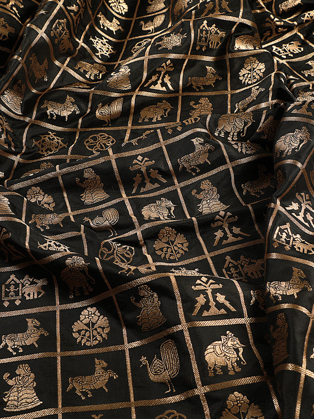 Signoraa Black Banarasi Pure Silk Unstitched Fabric-PMT011103- View 3