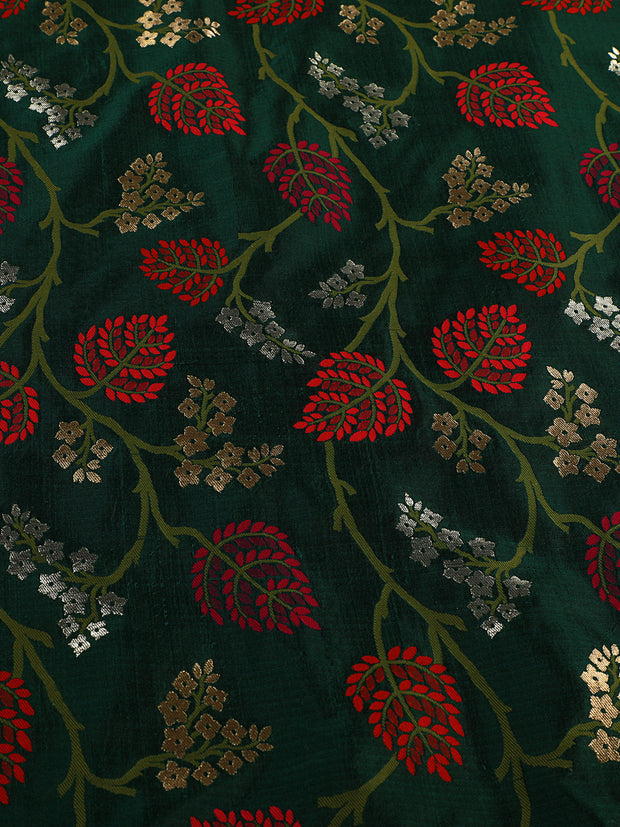 Signoraa Bottle Green Banarasi Silk Unstitched Fabric-PMT010908 A- View 3