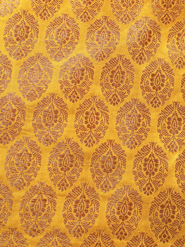 Signoraa Yellow Banarasi Silk Unstitched Fabric-PMT011381- View 3