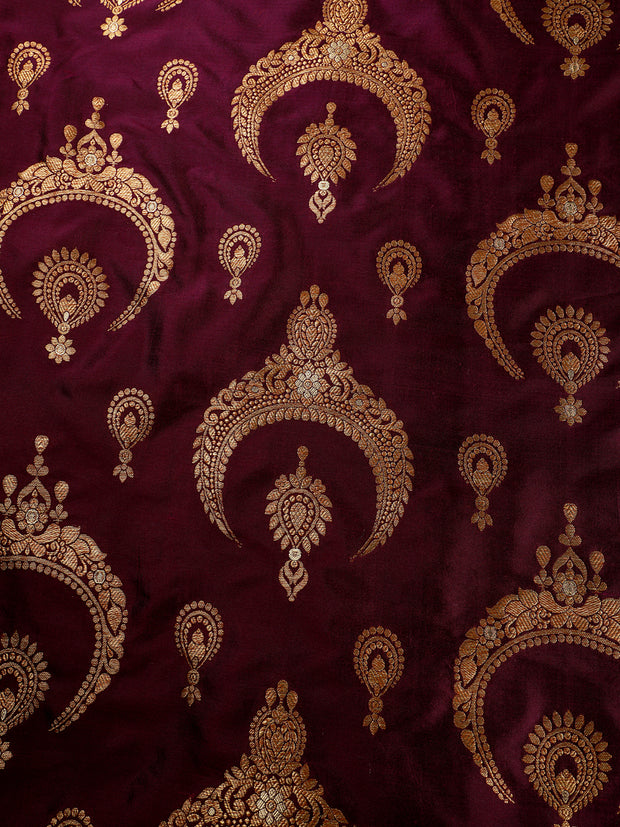 Signoraa Purple Banarasi Pure Silk Unstitched Fabric-PMT010039-View 3