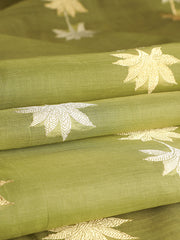 Signoraa Pista Green Banarasi Pure Silk Cotton Unstitched Fabric-PMT011320- View 1