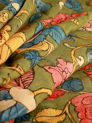 Signoraa Green Kalamkari Silk Unstitched Fabric-PMT011684B- View 1