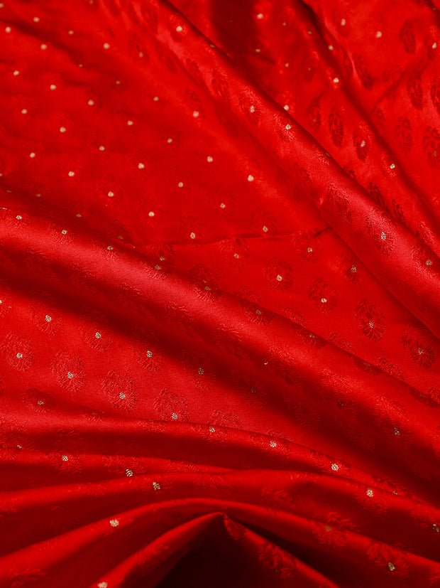 Signoraa Red Banarasi Tanchoi Silk Unstitched Fabric-PMT010906- View 2