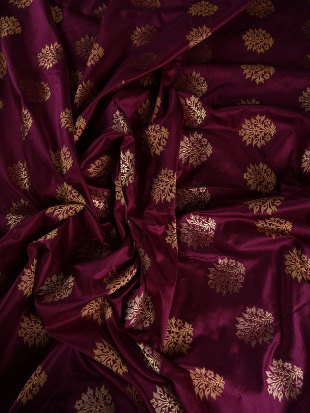 Signoraa Purple Banarasi Silk Unstitched Fabric-PMT010948- View 2