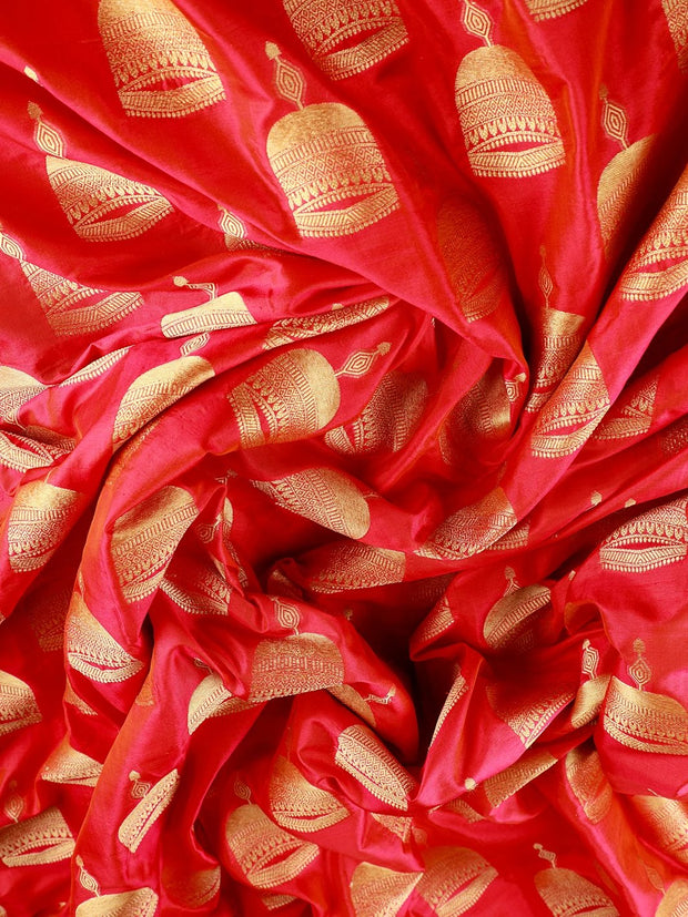 Signoraa Pink Banarasi Pure Silk Unstitched Fabric-PMT010294- View 2