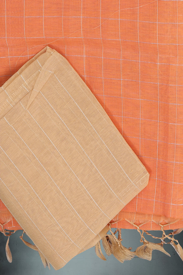 SIGNORAA PEACH LINEN SAREE-KSL02504 - Product View