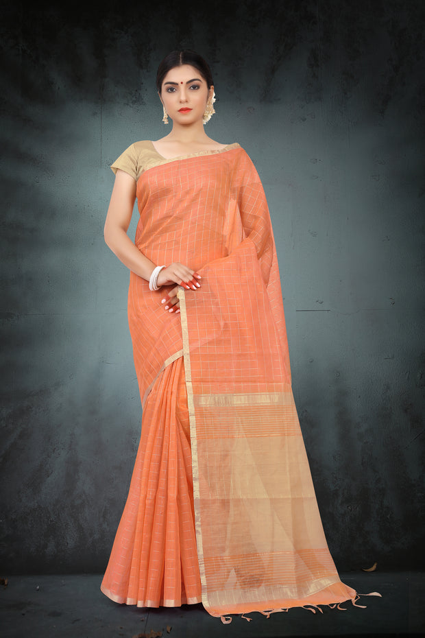 SIGNORAA PEACH LINEN SAREE-KSL02504 - View 1