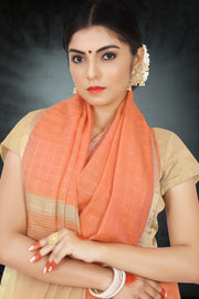 SIGNORAA PEACH LINEN SAREE-KSL02504 - View 2