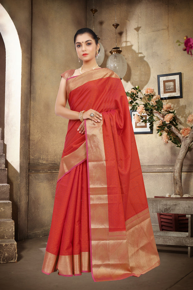 SIGNORAA RED SILK COTTON SAREE-CCC01455 - VIEW 1