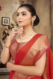 SIGNORAA RED SILK COTTON SAREE-CCC01455 - VIEW 2