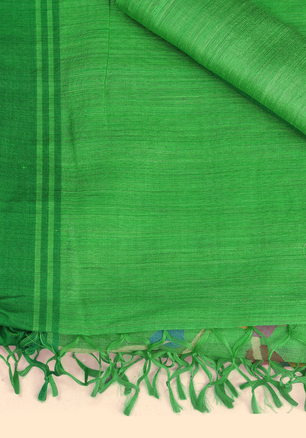 SIGNORAA PARROT GREEN JUTE TUSSAR SILK SAREE-PTS03760 -PRODUCT VIEW