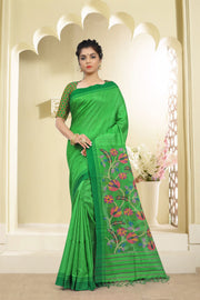 SIGNORAA PARROT GREEN JUTE TUSSAR SILK SAREE-PTS03760 - VIEW 1