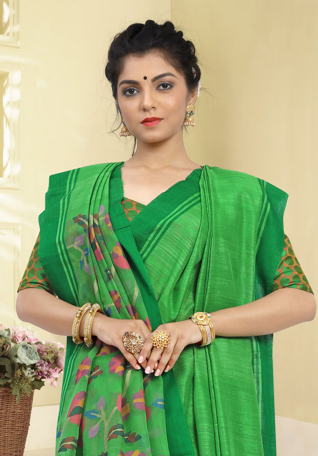SIGNORAA PARROT GREEN JUTE TUSSAR SILK SAREE-PTS03760 - VIEW 2