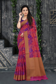 SIGNORAA RANI PINK FANCY BANARAS COTTON SAREE-FCT08836 - View 1
