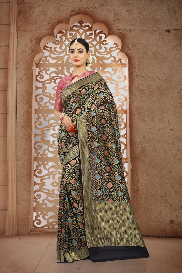SIGNORAA BLACK BANARASI GEORGETTE SILK SAREE-CHG03429 - VIEW 1