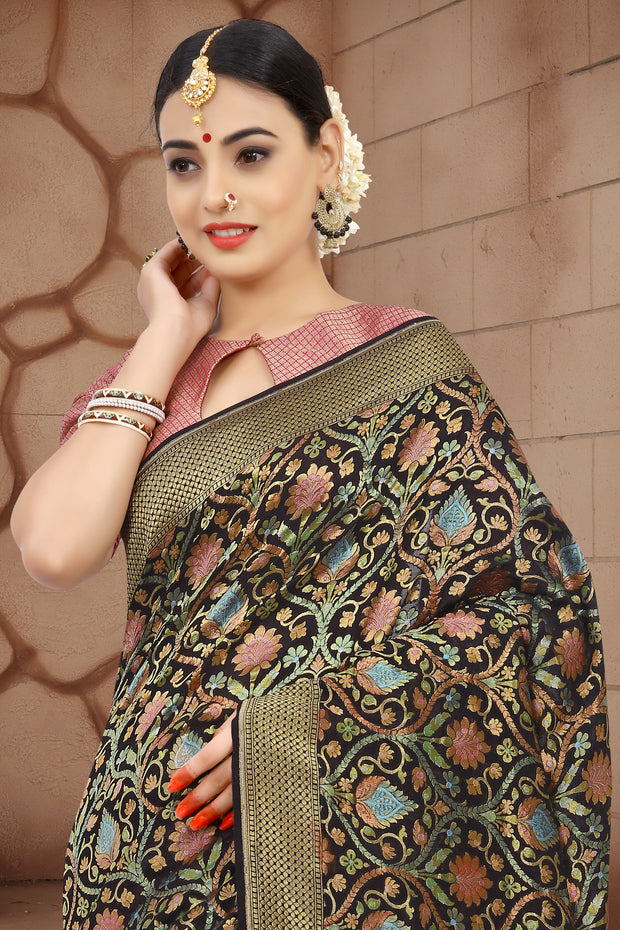 SIGNORAA BLACK BANARASI GEORGETTE SILK SAREE-CHG03429 - VIEW 2