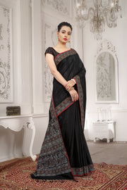 SIGNORAA BLACK KANCHIPURAM SOFT SILK SAREE-EMB02967 - VIEW 1