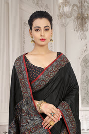 SIGNORAA BLACK KANCHIPURAM SOFT SILK SAREE-EMB02967 - VIEW 2