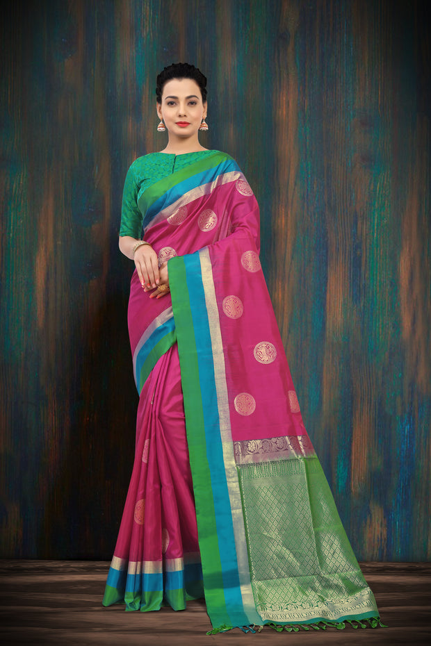SIGNORAA RANI PINK KANCHIPURAM SOFT SILK SAREE-KSL02475 A - View 1