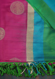 SIGNORAA RANI PINK KANCHIPURAM SOFT SILK SAREE-KSL02475 A - Product View