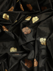 Signoraa Black Katan Silk Unstitched Fabric-PMT011478 - View 2