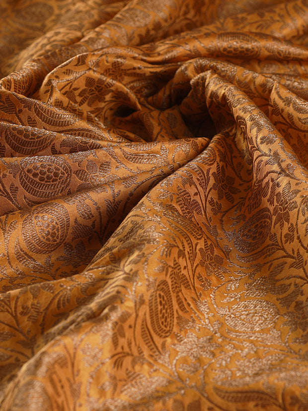 Signoraa Mustard Banarasi Pure Silk Unstitched Fabric-PMT011418- View 2