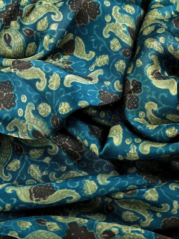 Signoraa Blue Satin Silk Unstitched Fabric-PMT010478 - View 2