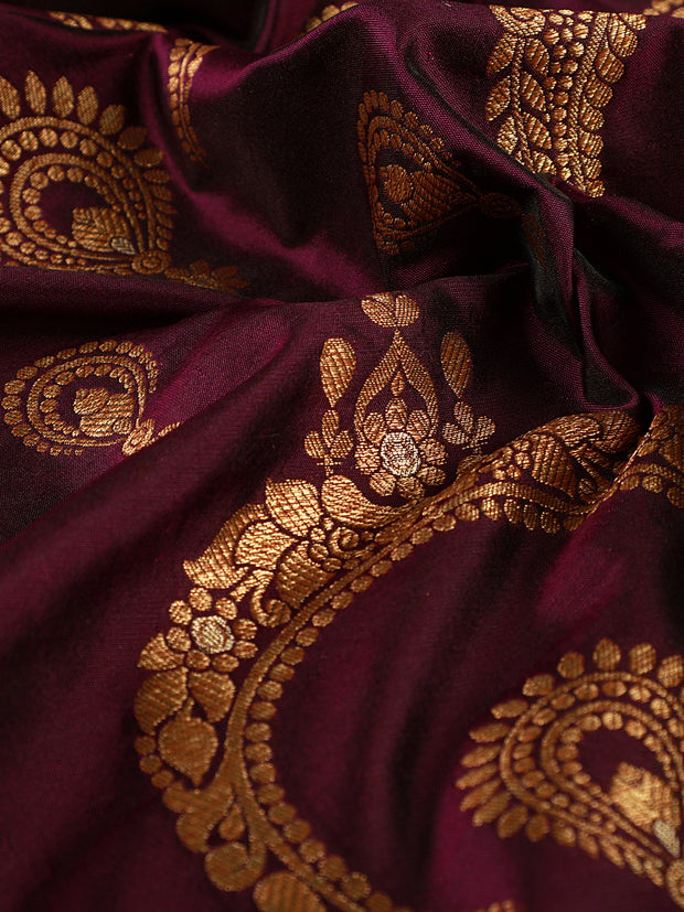 Signoraa Purple Banarasi Pure Silk Unstitched Fabric-PMT010039-View 2