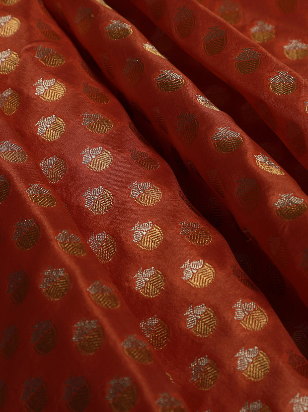 Signoraa Peach Banarasi Pure Silk Unstitched Fabric-PMT011625- View 1